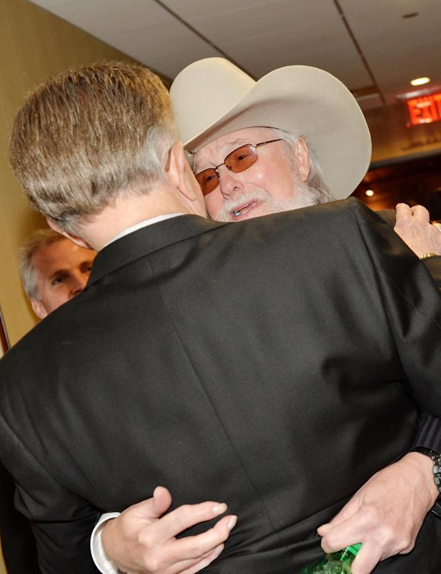 NASHVILLE, TN - MAY 02: (EXCLUSIVE COVERAGE) Country musicians Whispering Bill Anderson (L) and Charlie Daniels attend the funeral service for George Jones at The Grand Ole Opry on May 2, 2013 in Nashville, Tennessee. Jones passed away on April 26, 2013 at the age of 81. (Photo by Rick Diamond/Getty Images for GJ Memorial)