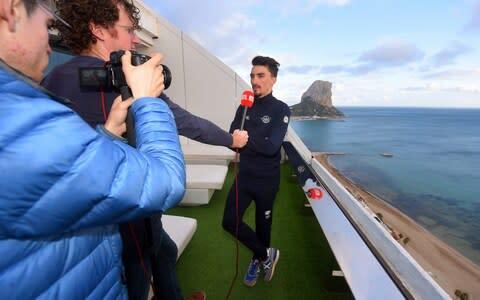 <span>Media duties are all in a day's work for the talented Julian Alaphilippe </span> <span>Credit: Luc Claessen/Getty Images </span>