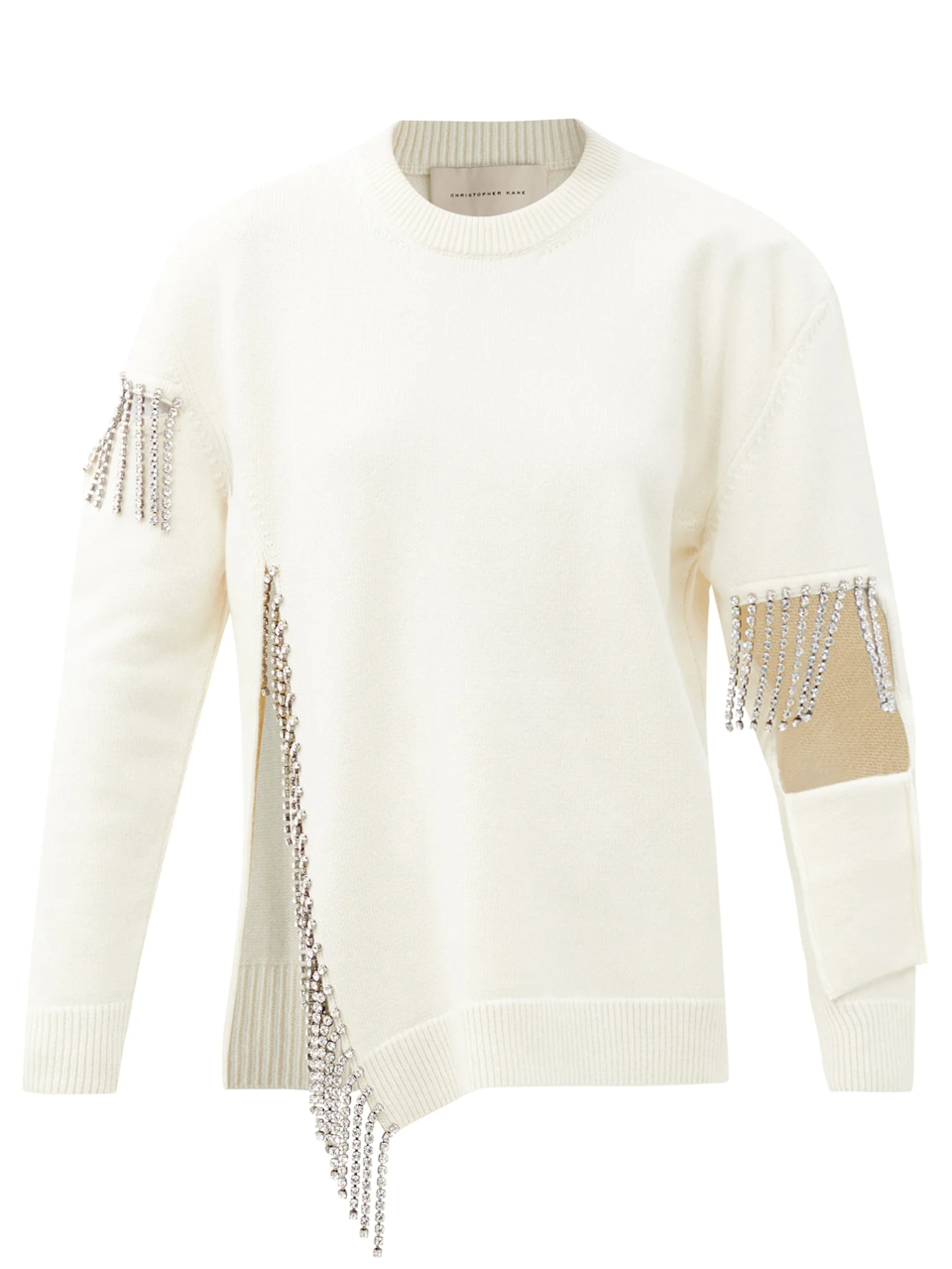 "<br><br><strong>Christopher Kane</strong> Crystal-Embellished Keyhole Wool Sweater, $, available at <a href=""https://go.skimresources.com/?id=30283X879131&url=https%3A%2F%2Fwww.matchesfashion.com%2Fproducts%2FChristopher-Kane-Crystal-embellished-keyhole-wool-sweater-1386479"" rel=""nofollow noopener"" target=""_blank"" data-ylk=""slk:MatchesFashion"" class=""link rapid-noclick-resp"">MatchesFashion</a>"