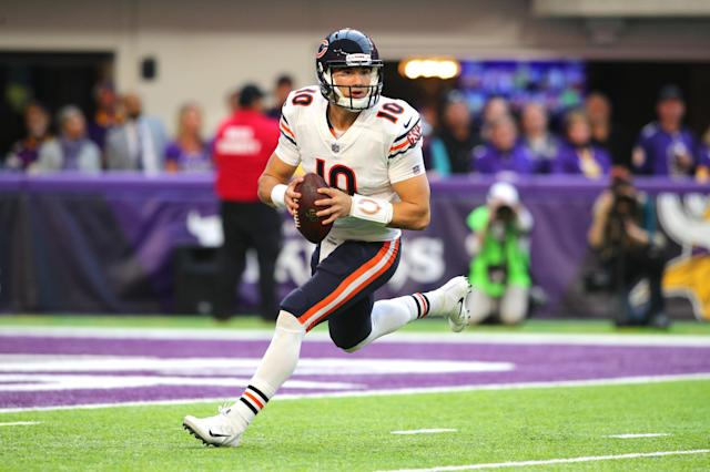 "<a class=""link rapid-noclick-resp"" href=""/nfl/teams/chi"" data-ylk=""slk:Chicago Bears"">Chicago Bears</a> quarterback Mitch Trubisky is expected to take on a bigger role with the offense this fall, and has had his ""training wheels"" taken off, according to offensive lineman <a class=""link rapid-noclick-resp"" href=""/nfl/players/26643/"" data-ylk=""slk:Kyle Long"">Kyle Long</a>. (Getty Images)"