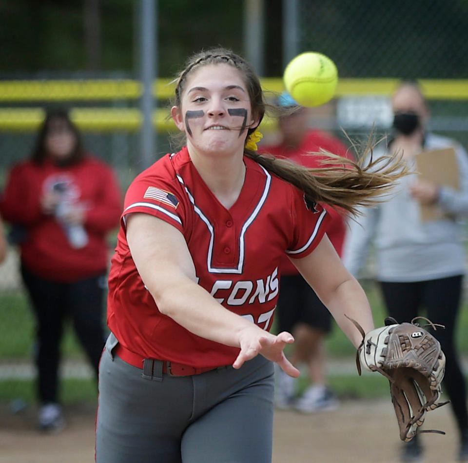 The East Providence Townies get shut out by the Falcons of Cranston West, 10-0, at the Brayton Avenue Softball Complex in Cranston, R.I., on Tuesday afternoon. Pitchers soon won't be the only softball players allowed to forgo masks during high school games in Rhode Island.