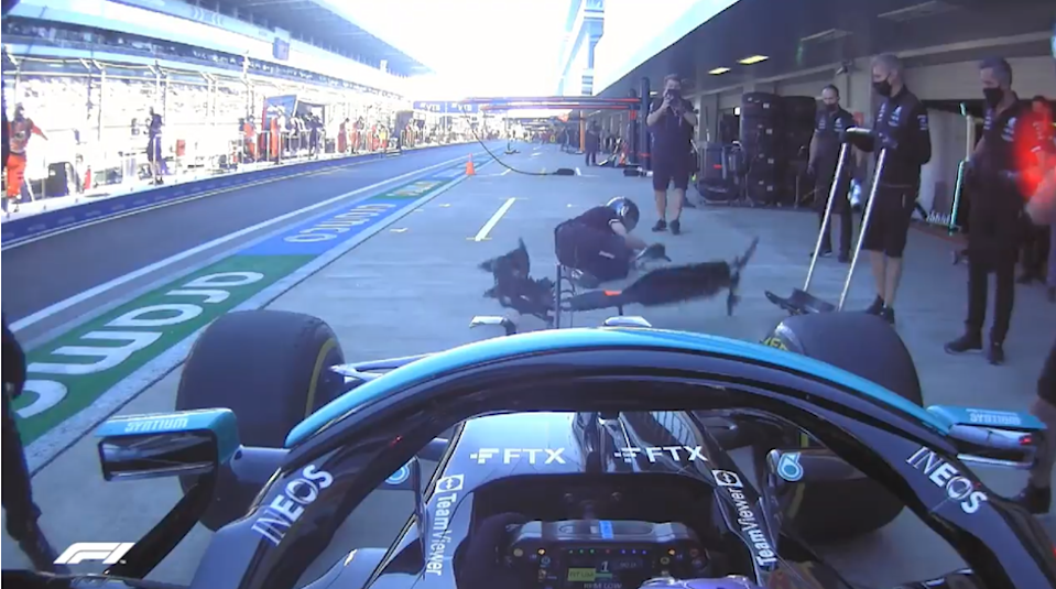 Lewis Hamilton's on-board camera captured the incident   (F1)