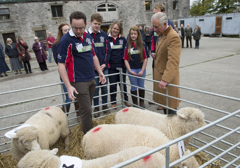 BUXTON, UNITED KINGDOM - OCTOBER 23: Prince Charles, Prince of Wales, Patron of The Prince's Countryside Fund visits the Farming Life Centre to listen about issues facing local farmers and see how the rural community is being supported by the charity at Blackwell Hall Farm on October 23, 2015 in Blackwell, Buxton, United Kingdom (Photo by Arthur Edwards - WPA Pool/Getty Images)