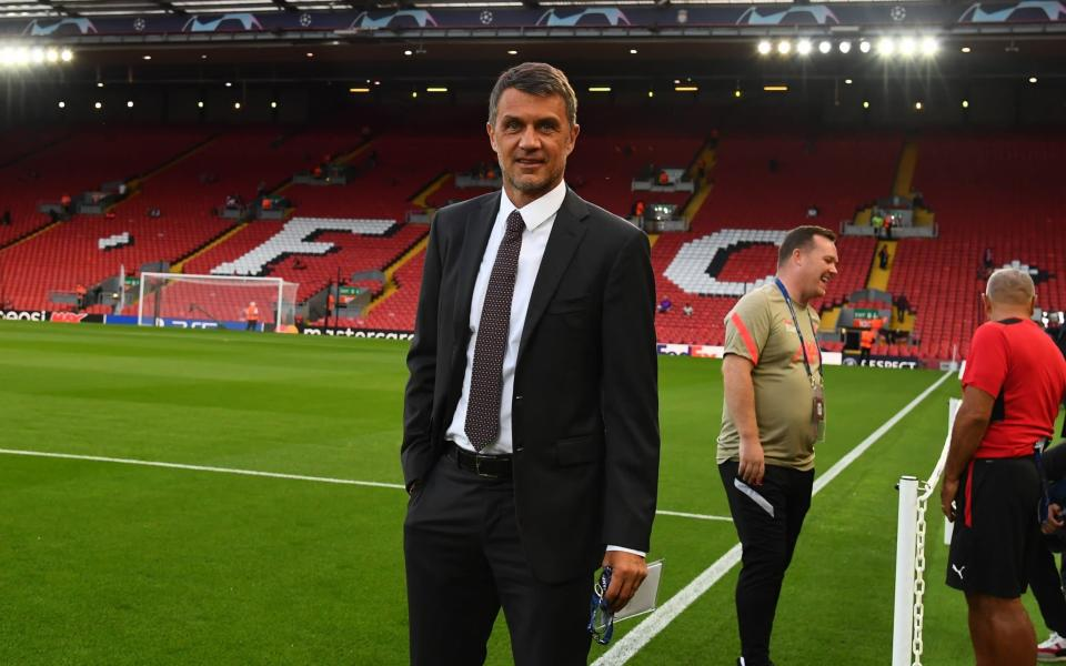Technical Area Director AC Milan Paolo Maldini enters on the pitch ahead of the UEFA Champions League group B match between Liverpool FC and AC Milan - Getty Images