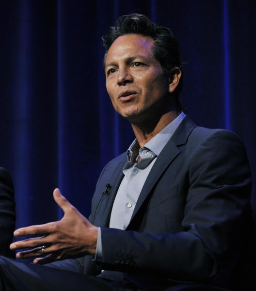 "Actor Benjamin Bratt discusses the documentary film ""Latino Americans"" during the PBS Summer 2013 TCA press tour at the Beverly Hilton Hotel on Wednesday, Aug. 7, 2013, in Beverly Hills, Calif. (Photo by Chris Pizzello/Invision/AP)"