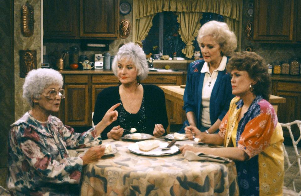 In a May 1992 episode, Estelle Getty, left, Bea Arthur, Betty White, and Rue McClanahan share their favorite dessert. (Photo: Joseph Del Valle/NBCU Photo Bank)