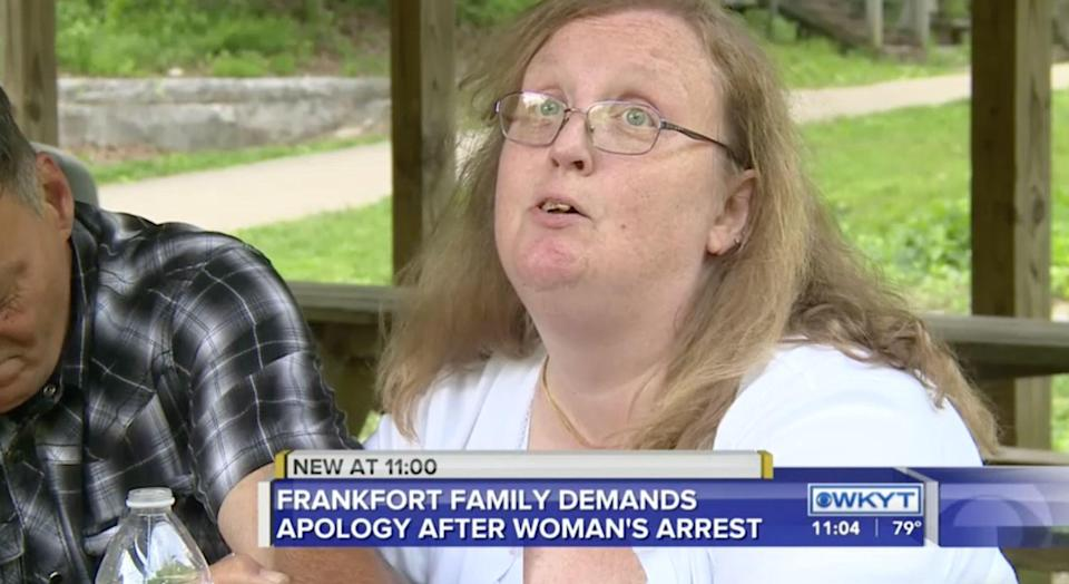 Melissa Wood, who has Down syndrome, was arrested by Kentucky police officers on a 2011 warrant. Her family says Melissa's identity was stolen. (Screenshot: WKYT)
