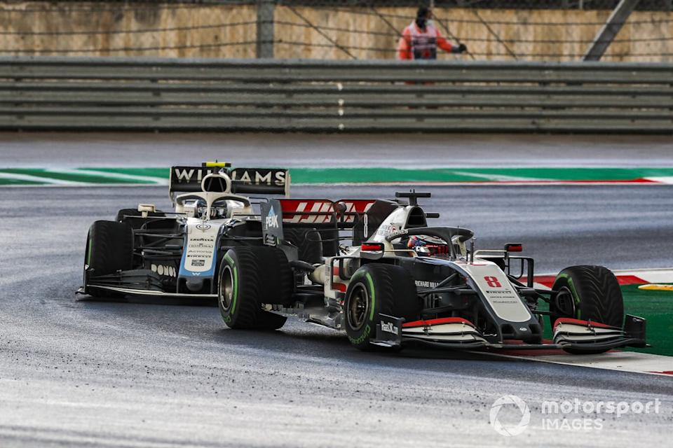 "Romain Grosjean, Haas VF-20, Nicholas Latifi, Williams FW43<span class=""copyright"">Steven Tee / Motorsport Images</span>"