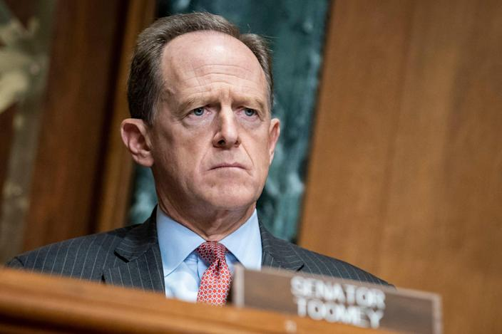 "Sen. Pat Toomey, R-Pa.., questions Treasury Secretary Steven Mnuchin during a hearing on the ""Examination of Loans to Businesses Critical to Maintaining National Security"" on Capitol Hill on Dec. 10, 2020 in Washington."