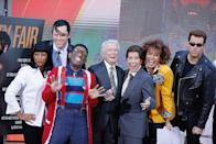 <p>The 1990s gave us some of the funniest sitcoms and movies, which made it an easy choice for a group Halloween moment on the plaza. From left to right, Tamron Hall and Willie Geist wore a black and white ensemble (with of course that bolo tie) as Vincent and Mia in <em>Pulp Fiction, </em>Al Roker sported suspenders and that funny stance as Steve Urkel from <em>Family Matters.</em> Regis Philbin went as his amazing himself, while Kathie Lee Gifford and Hoda Kotb poked fun by dressing up as the co-hosts of <em>Live with Regis and Kathie Lee</em>. And driving a motorcycle, Carson Daly was baaack as the Terminator. </p>
