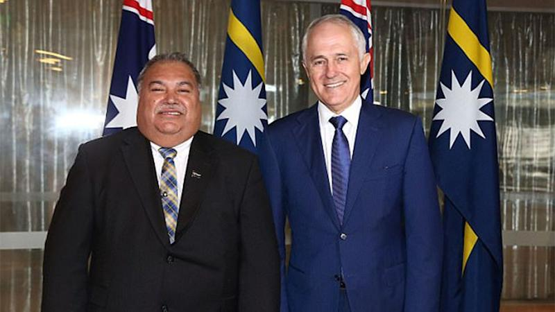 Nauru's President Baron Waqa and Prime Minister Malcolm Turnbull. Source: AP