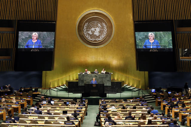 Norway's Prime Minister Erna Solberg addresses the 74th session of the United Nations General Assembly, Friday, Sept. 27, 2019. (AP Photo/Richard Drew)