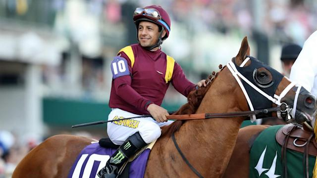 Horse Bobby Abu Dhabi suffered an apparent fatal heart attack at Del Mar racetrack and Victor Espinoza was thrown off, fracturing his neck. (AP Photo)