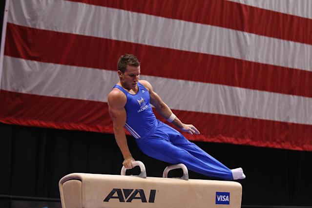 ST. LOUIS, MO - JUNE 7: Jonathan Horton competes on the pummel horse during the Senior Men's competition on day one of the Visa Championships at Chaifetz Arena on June 7, 2012 in St. Louis, Missouri. (Photo by Dilip Vishwanat/Getty Images)
