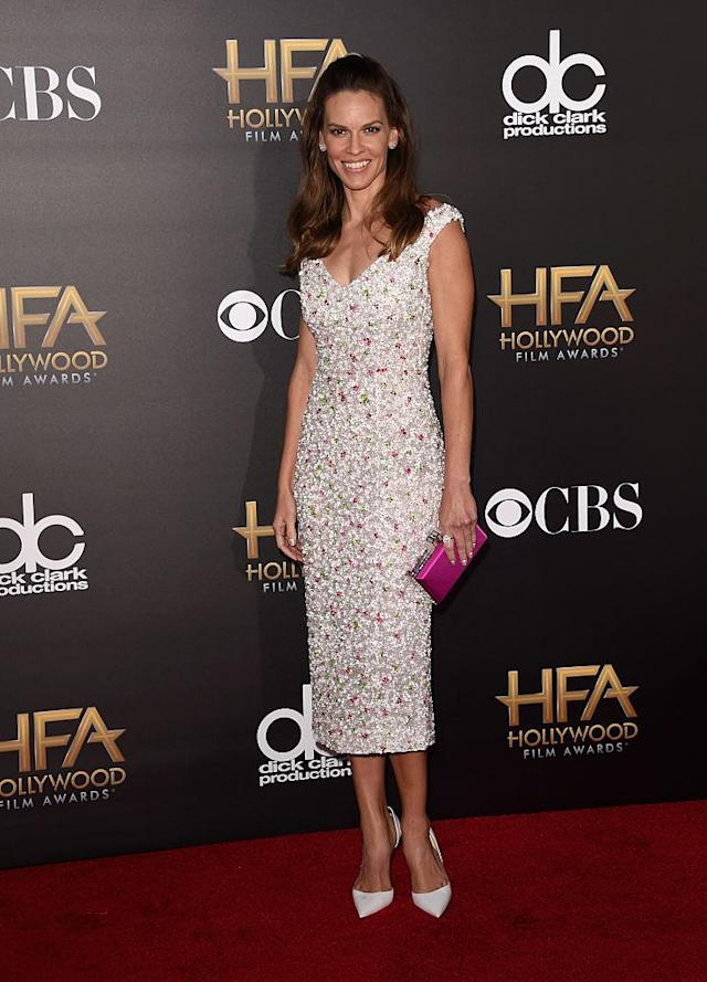 <p>Swank doesn't play by the rules. The actress stunned in an all white look post Labor Day. (Photo: Getty Images) </p>