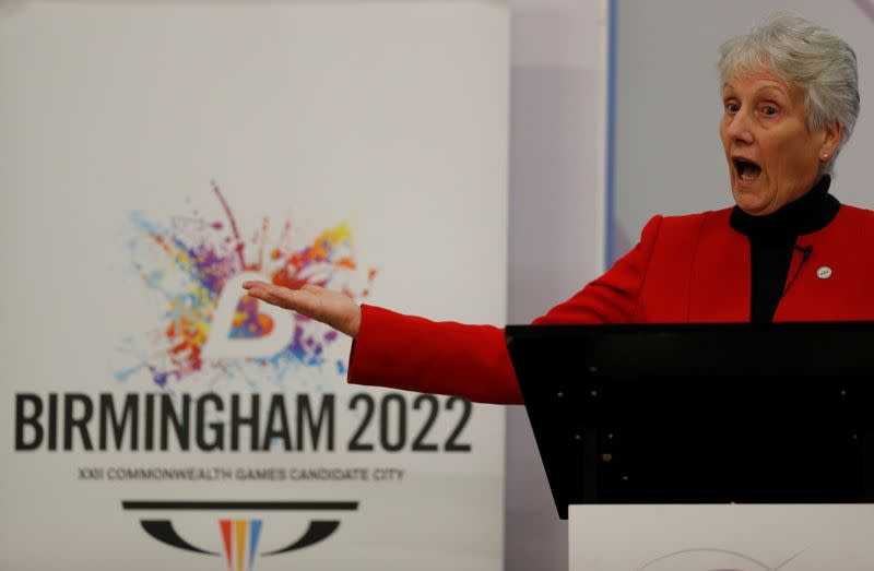 Commonwealth Games Federation President Louise Martin announces the winning bid for the 2022 games in Birmingham