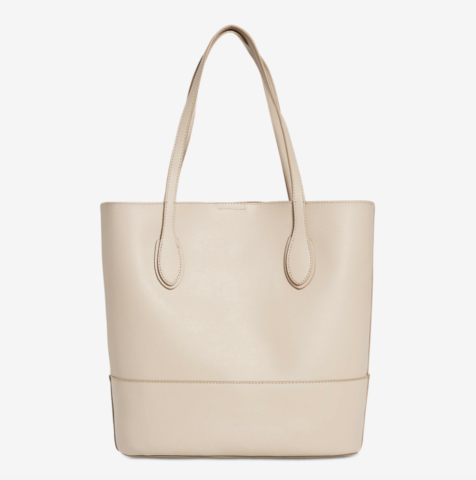 light beige leather tote bag Tyler Tote