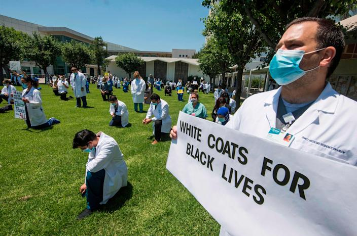 Doctors and nurses on June 11, 2020, in West Covina, California.