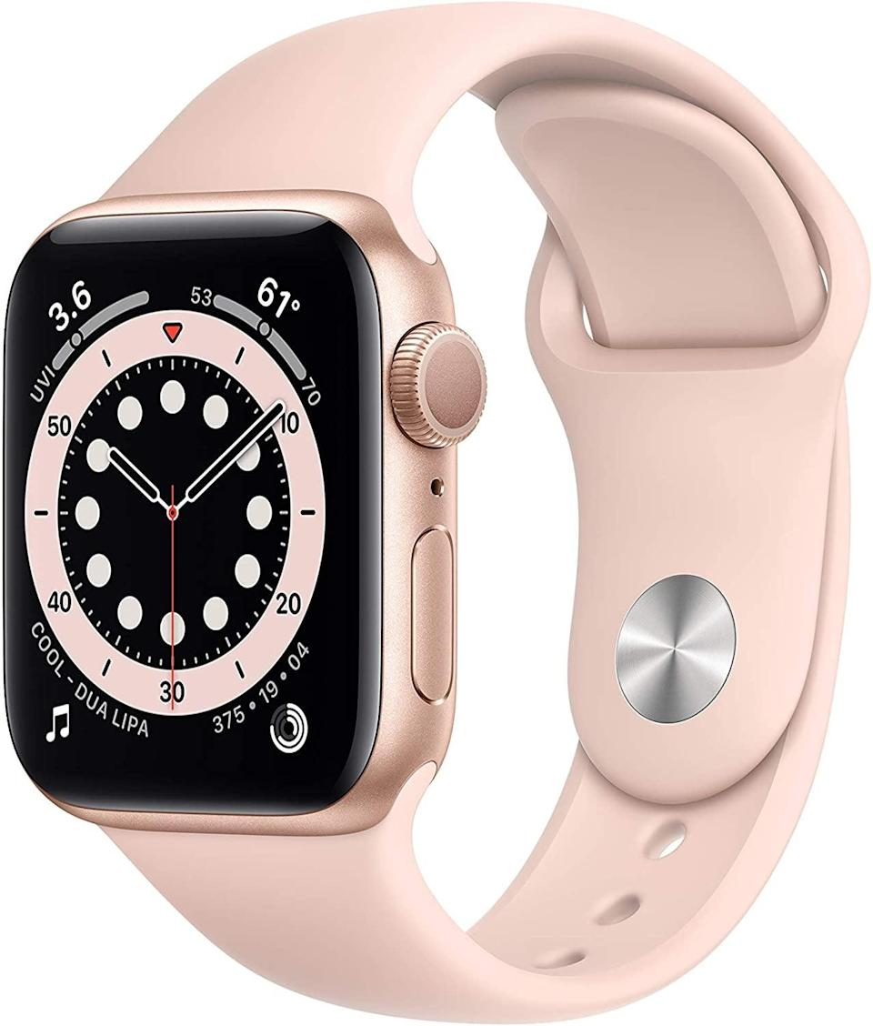 <p>The <span>Apple Watch Series 6</span> ($454) makes and receives calls, tracks your exercise, and stores music, podcasts, and audiobooks! It's swimproof and even has an optical heart sensor.</p>
