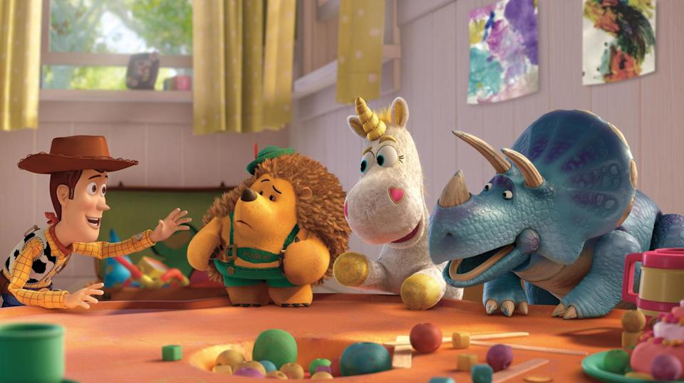 """<p><strong>What It's About:</strong> """"Come back to the toy box in this heartwarming and hilarious movie. As Andy goes to college, Woody, Buzz and the toys wonder what will become of them. But when they land at Sunnyside Daycare, they discover a new adventure is just beginning.""""</p> <p><a href=""""https://www.disneyplus.com/movies/toy-story-3/5i3MkHrmohAt"""" class=""""link rapid-noclick-resp"""" rel=""""nofollow noopener"""" target=""""_blank"""" data-ylk=""""slk:Watch Toy Story 3 on Disney+ here!"""">Watch <strong>Toy Story 3</strong> on Disney+ here!</a></p>"""