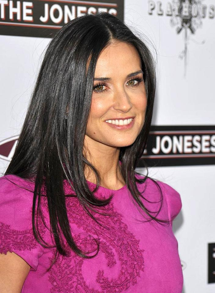 "At 47, ""The Joneses"" actress Demi Moore is so smokin' hot that even her hubby Ashton Kutcher calls her ""a genetic freak."" We couldn't agree more ... in a good way! John Shearer/<a href=""http://www.wireimage.com"" target=""new"">WireImage.com</a> - April 8, 2010"