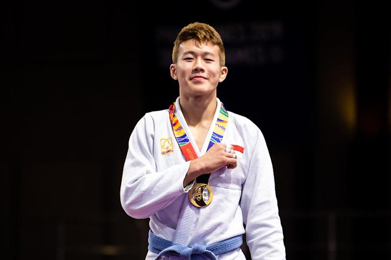 Jiu-jitsu athlete Noah Lim wins a first-ever SEA Games gold in the sport for Singapore. (PHOTO: Andy Chua/ SNOC)