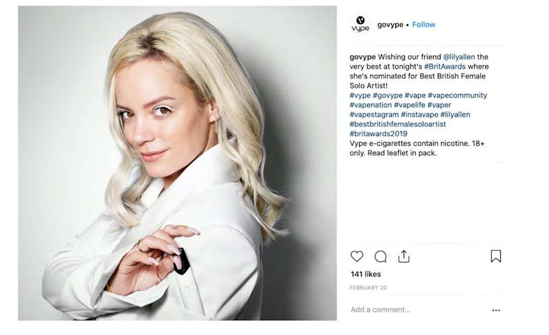 An image issued by the Advertising Standards Authority (ASA) of Lily Allen promoting e-cigarettes which appears on Instagram. [Photo: PA/Instagram]
