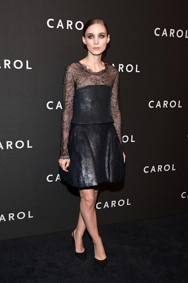 <p>For the event at the Museum of Modern Art, Mara chose a dress from Chanel's spring 2015 couture collection featuring black sequins (that only look like leather because they're so densely layered) and lace.<i>Photo: Getty</i></p>