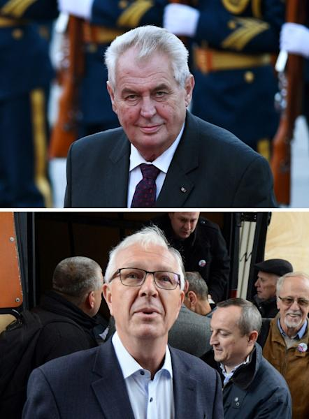 Czech President Milos Zeman will face Drahos in a second round run-off presidential vote (AFP Photo/WANG Zhao, Michal CIZEK)
