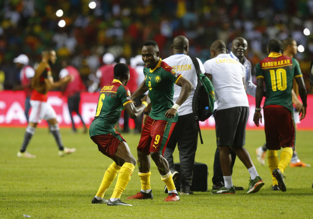 Football Soccer - African Cup of Nations - Final - Egypt v Cameroon - Stade d'Angondjé - Libreville, Gabon - 5/2/17 Cameroon's Ambroise Oyongo and Jacques Zoua celebrate after winning the African Cup of Nations Reuters / Mike Hutchings Livepic