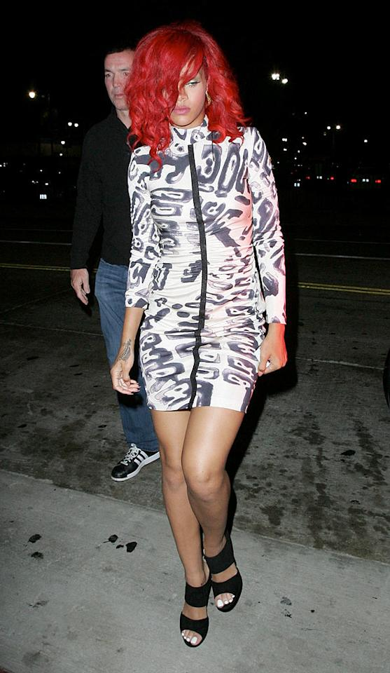 "Perhaps it's just us, but it seems as though Rihanna ordered her chintzy-looking, Ronald McDonald-like locks off the $1 menu. WL/<a href=""http://www.x17online.com"" target=""new"">X17 Online</a> - September 22, 2010"