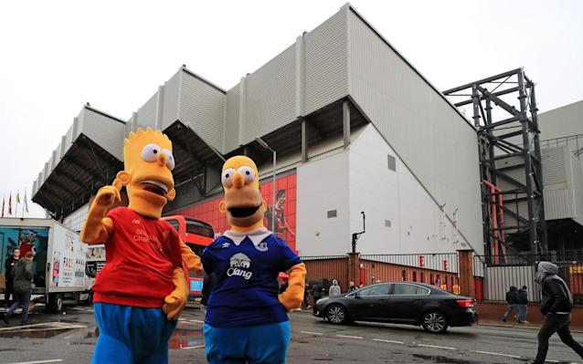 <p>General view outside Anfield Stadium </p>