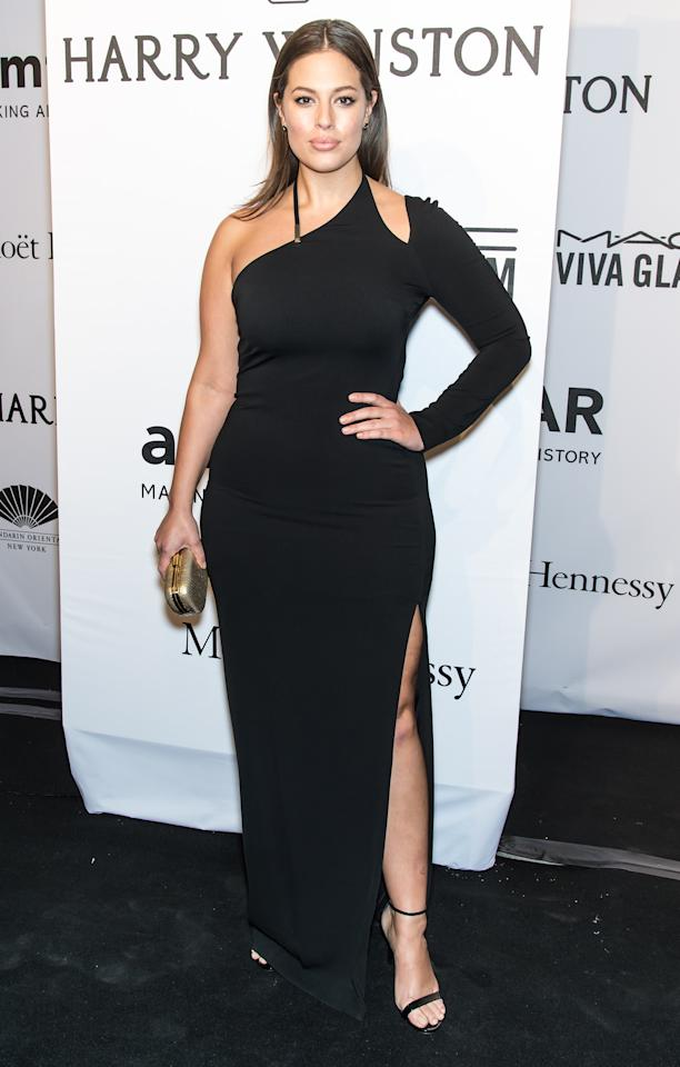 <p>Graham goes for another one-shouldered gown, this time with a more out-there slit, at the 2015 amfAR New York Gala at Cipriani Wall Street in February 2015.</p>