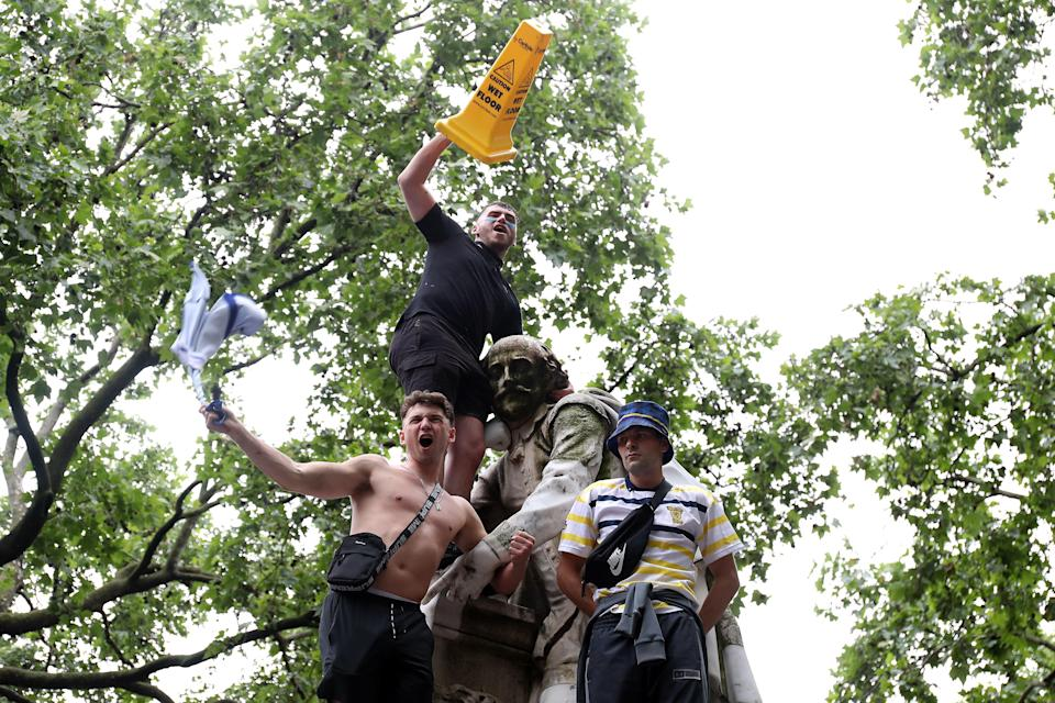 Scotland fans gather in Leicester Square (PA)