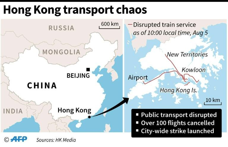 Map showing Hong Kong transport disruption locations on Monday August 5
