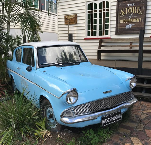 <p>Before you even set foot inside, die hards are being catered for with the blue car the Weasley's drive in the movies. The Ford Anglia 105E Deluxe features heavily in the storyline and at one point Harry and Ron crash it into the Whomping Willow. Now it's here in Australia for us all to enjoy. Source: Instagram/TheStoreOfRequirement </p>