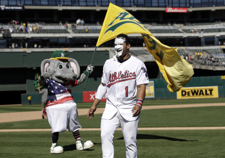 Franklin Barreto cracked a walk-off home run against the White Sox during his first stint with the A's. (AP)