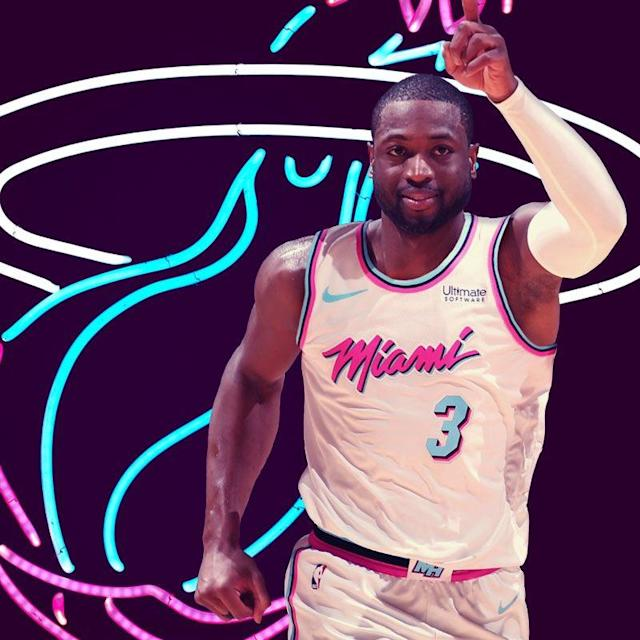 The Heat wasted little time showing fans what Dwyane Wade will look like in their new VICE uniforms. (Image via @MiamiHeat)