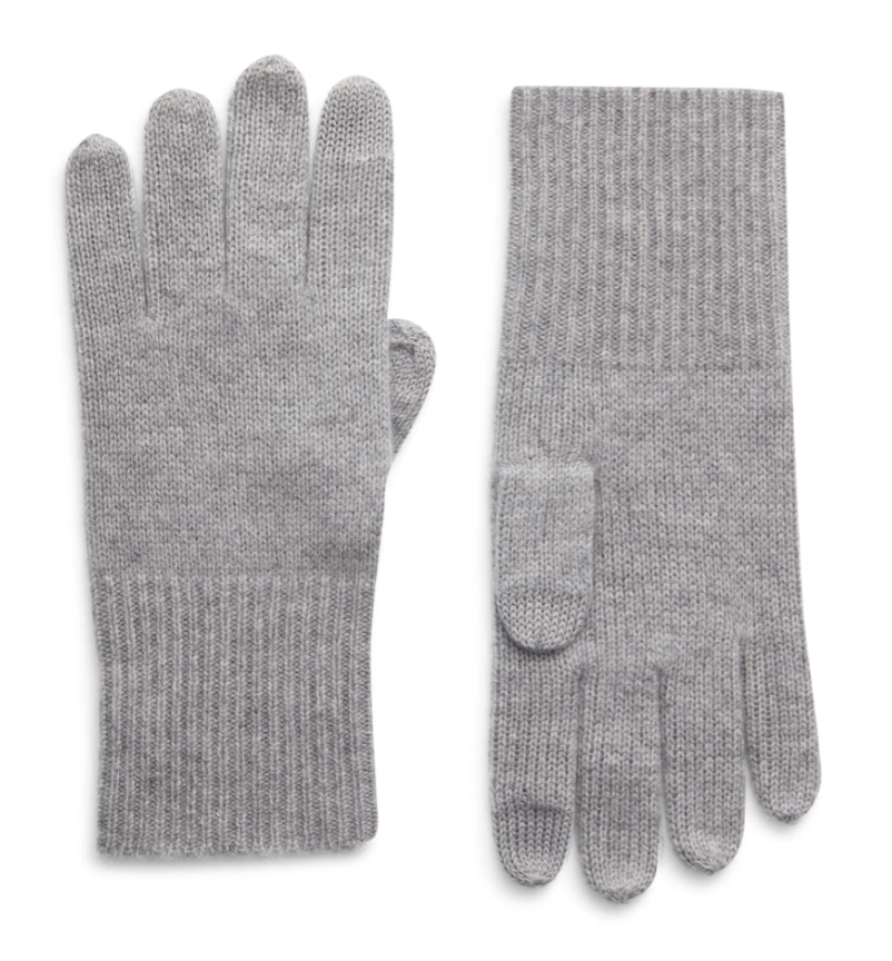 Halogen Cashmere Tech Gloves in Grey Heather
