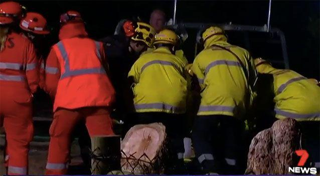 An emergency rescue team worked to rescue Riley. Source: 7 News