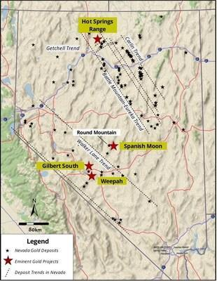 Figure 1. Location map showing the Spanish Moon District is adjacent to the Walker Lane Trend, Nevada (CNW Group/Eminent Gold Corp.)