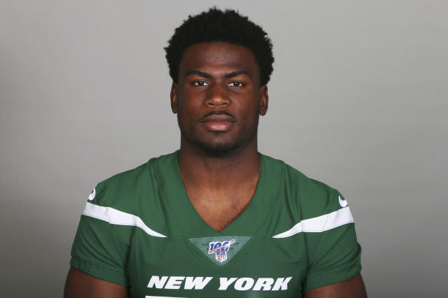 This is a 2019 file photo showing Quincy Enunwa of the New York Jets NFL football team. Jets wide receiver Quincy Enunwa will be sidelined the rest of the season with a neck injury, his second in just over two years. Coach Adam Gase says Wednesday, Sept. 11, 2019, that Enunwa is still undergoing tests to determine the severity. He also wouldnt speculate as to whether the injury could threaten Enunwas career. (AP Photo/File)