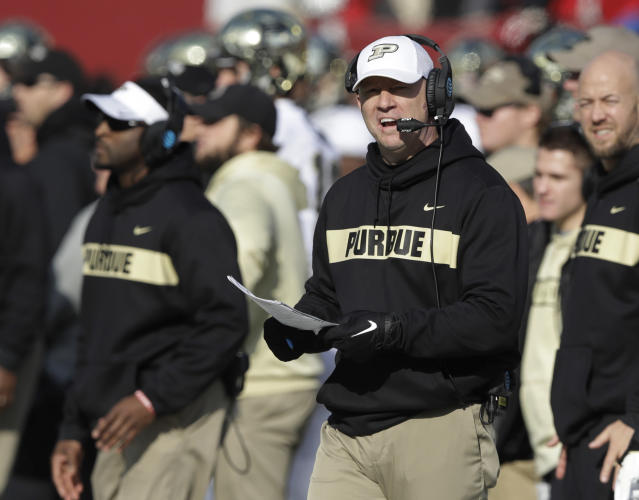 Trinity High School in Louisville, where Purdue coach Jeff Brohm attended, cancelled class on Thursday after receiving a threat after Brohm turned down the Louisville job. (AP Photo/Darron Cummings)