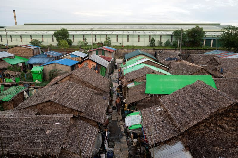 Rooftops of a slum area of Yangon