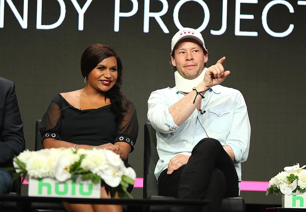 <p>The final season of <i>The Mindy Project</i> was supposed to be the subject of Hulu's Television Critics Association event in Beverly Hills, but the focus was elsewhere. It was on Barinholtz, who sported a neck brace after breaking his neck, and the pregnant (according to Oprah) Kaling. (Photo: Joe Scarnici/Getty Images for Hulu) </p>