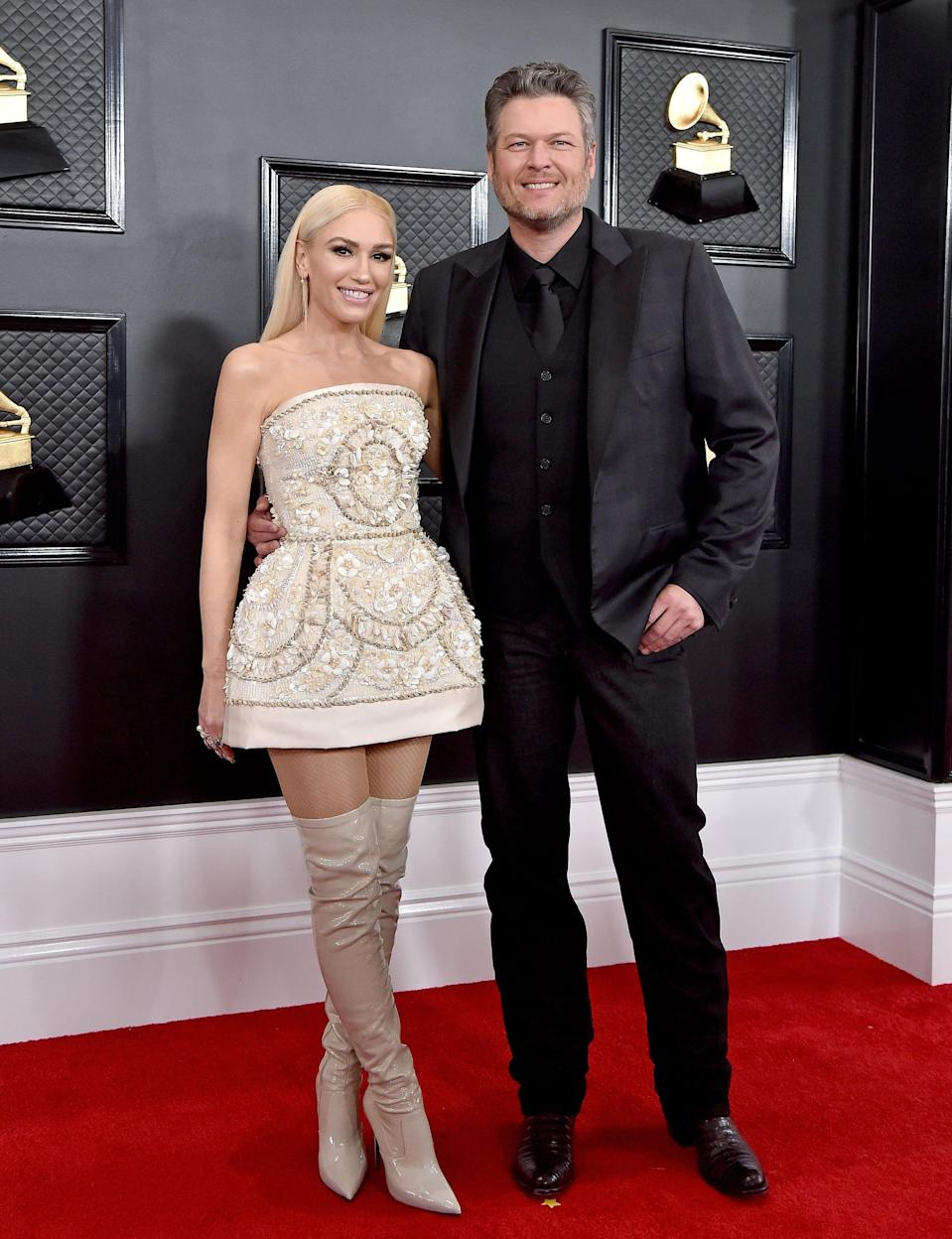 """<p>Once again, however, Shelton found love during a professional gig: he and Stefani met as judges on <strong>The Voice</strong>, although <a href=""""http://www.billboard.com/articles/news/7453469/blake-shelton-billboard-cover-divorce-miranda-lambert-gwen-stefani-relationship-the-voice-if-im-honest-album"""" class=""""link rapid-noclick-resp"""" rel=""""nofollow noopener"""" target=""""_blank"""" data-ylk=""""slk:they weren't particularly close at first"""">they weren't particularly close at first</a>, according to a <strong>Billboard</strong> interview with Shelton. Around the same time as Shelton's divorce from Lambert, Stefani was splitting with her husband, <a class=""""link rapid-noclick-resp"""" href=""""https://www.popsugar.com/Gavin-Rossdale"""" rel=""""nofollow noopener"""" target=""""_blank"""" data-ylk=""""slk:Gavin Rossdale"""">Gavin Rossdale</a>, and, as Shelton told <strong>Billboard</strong>, she helped him through the tough time.</p> <p>""""She didn't tell me much, because we didn't know each other at the time, but she said, 'I'm going through something very similar to what you're going through. I understand. And I hate it.'... Gwen saved my life. Who else on earth could understand going through a high-profile divorce from another musician? You can't even imagine the similarities in our divorces.""""<br></p> <p>By November 2015, Stefani and Shelton confirmed they were dating. """"<span>Blake and Gwen have begun dating</span>,"""" one source told <strong>People</strong>. """"They've been supporting each other through a difficult time and they're really happy together."""" The singers' reps confirmed the news as well. </p> <p>The couple quickly became a fixture at music events and red carpets together, and they've been dating ever since. <a href=""""http://www.instagram.com/p/CG2tZeonC9m/"""" class=""""link rapid-noclick-resp"""" rel=""""nofollow noopener"""" target=""""_blank"""" data-ylk=""""slk:Stefani announced their engagement"""">Stefani announced their engagement</a> on Instagram on Oct. 27, with a sweet shot of the two together simply captioned """"@bl"""
