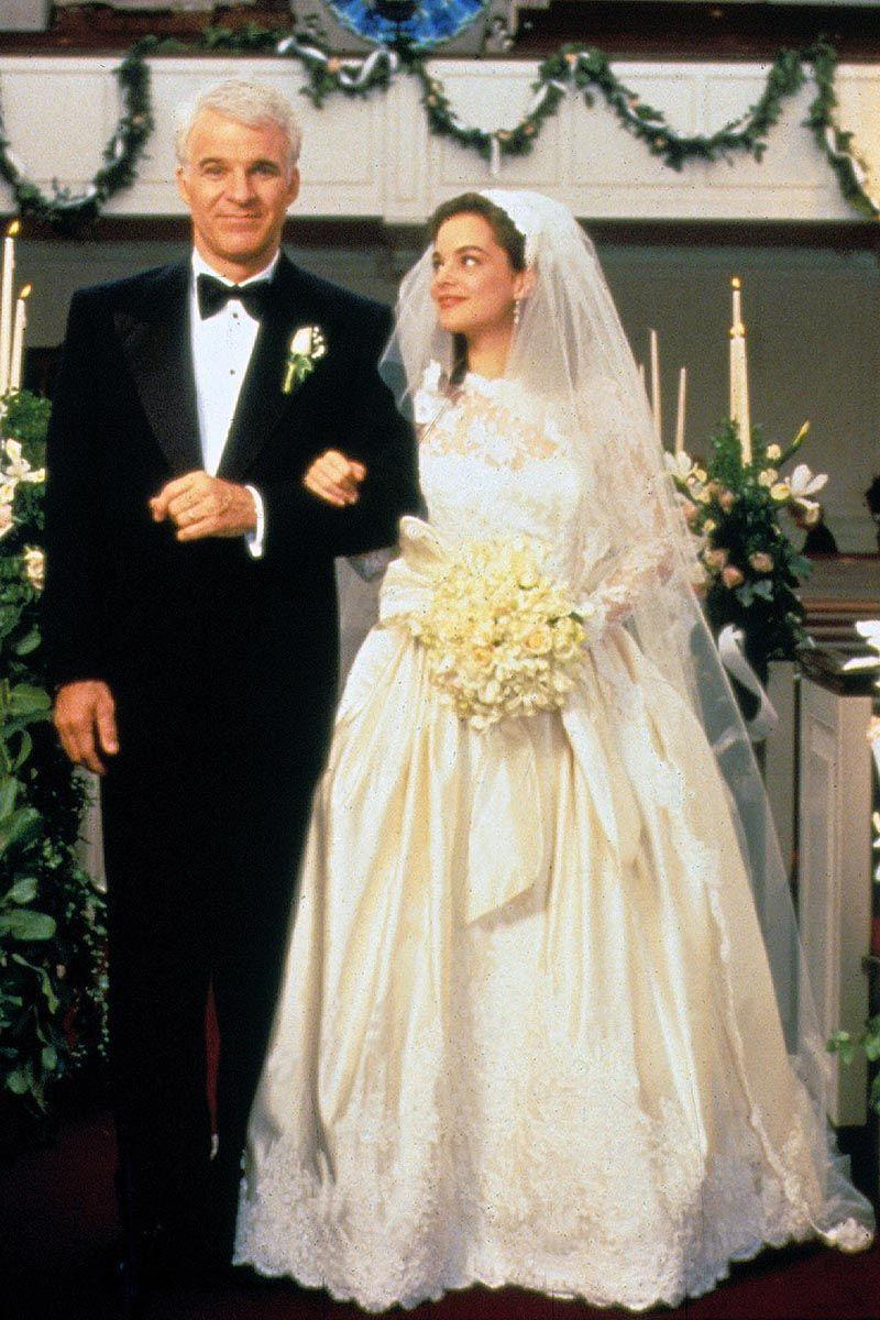 <p>George Banks may have lost his little girl, but at least we were all able to lust over the dreamy silk-and-lace gown that Kimberly Williams-Paisley wore as Annie Banks. In typical '90s fashion, the bride opted for a full skirt and lots of luxe details.<br></p>