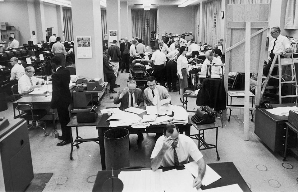 FILE - In this Nov. 3, 1964, file photo, staffers work on election night at the Washington, D.C. bureau of The Associated Press. As it has for more than 170 years, The Associated Press will count the vote and report the results of presidential, congressional and state elections quickly, accurately and without fear or favor on Nov. 3 and beyond. (AP Photo/File)