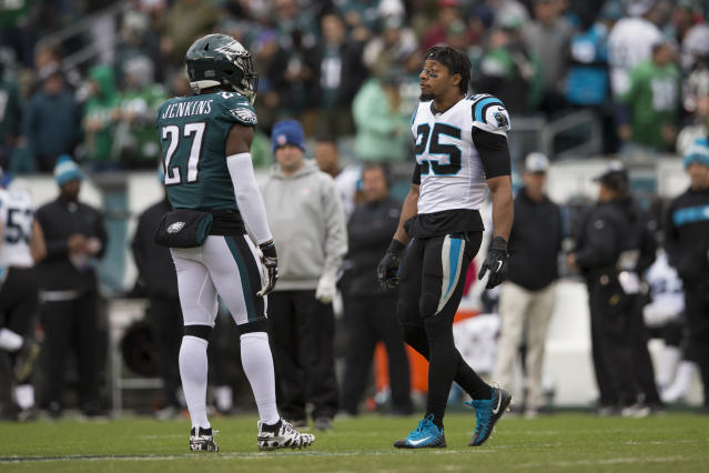 Hard feelings over the direction of the Players Coalition prompted last week's confrontation between Carolina's Eric Reid and Philadelphia's Malcolm Jenkins. (Getty Images)