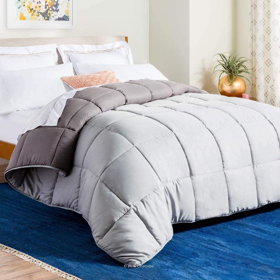 """It'smade of down alternative that is ACTUALLY MACHINE-WASHABLE. Seriously, leave the bedding and home goods that require dry cleaning behind. And it's reversible, so you can get a lil' versatile with your bedding scheme.<br /><br /><strong>Promising review:</strong>""""It's so fluffy! As soon as I got it I threw it in the dryer with some dryer sheets and when it came out it was fluffier than before. I threw it on my bed and my dog immediately jumped up on it and hasn't left since. He enjoys it and so do I."""" — <a href=""""https://www.amazon.com/gp/customer-reviews/R3FR33X9L7OULT?ASIN=B01GF5HM6I&ie=UTF8&linkCode=ll2&tag=huffpost-bfsyndication-20&linkId=15289d760be00bd7b807fde4d0abf48c&language=en_US&ref_=as_li_ss_tl"""" target=""""_blank"""" rel=""""noopener noreferrer"""">Amazon Customer</a><br /><br /><strong><a href=""""https://www.amazon.com/Linenspa-All-Season-Reversible-Alternative-Comforter/dp/B01GF5HM6I?&linkCode=ll1&tag=huffpost-bfsyndication-20&linkId=95c1eeaa522c9a37bd16e03fc5eb7af4&language=en_US&ref_=as_li_ss_tl"""" target=""""_blank"""" rel=""""noopener noreferrer"""">Get it from Amazon for $39.99+(available in eight sizes and 10 colors).</a></strong>"""